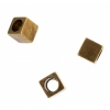 Metal Bead Cube  Antique Brass 4X4x4 with 2.6mm hole